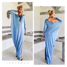 NEW....Sky Blue Asymmetric Maxi Dress Kaftan by Synthia Couture