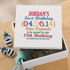 Who says you can't make time stand still? Your child will be amazed when they open this extraordinary keepsake box years from now! Fill it with photos, letters, news clippings and other memorabilia from their first year.