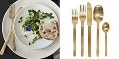 Serving Gold — Primrose Mag #gold #flatware #wedding #party #table #utensils #brushedgold #silverware #tablescape #decorating #modern