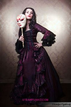 Purple Victorian Masquerade Ball Gown/Evening Gown/Dress (with venetian mask on a stick)  #Victorian Ball Gown
