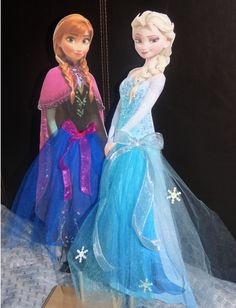 Frozen Anna Elsa Centerpiece Cut out with Tulle Skirt 18 inches Tall on Etsy, $9.00