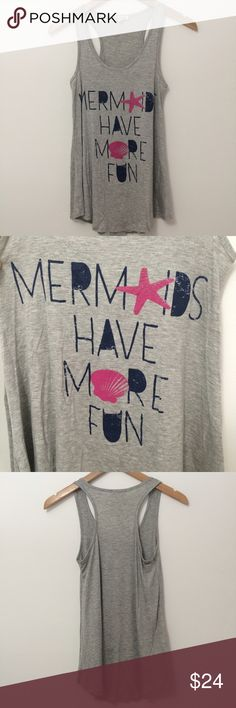 """LABOR DAY SALE ⭐️Mermaids Racerback Tank Mermaids have more fun! Racerback tank top. Flowy feel with a circle hem. Has stretch 95% rayon and 5% spandex. Please note this is a retail item and is brand new but will not have tags attached. S - 13.5"""" underarm to underarm and 25"""" long. M - 14"""" underarm to underarm and 26"""" long. Tops Tank Tops"""
