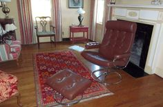 midcentury modern stressless chair and ottoman