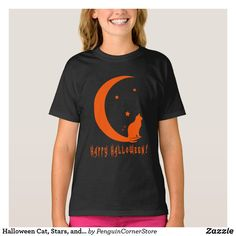 Halloween Cat, Stars, and Moon in Silhouette T-Shirt Halloween Cat, Christmas Photo Cards, Christmas Photos, Irony Humor, Shirt Style, Silhouette, Stationery Paper, Craft Party, Stars