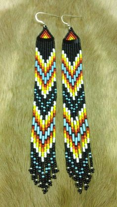 Black Multi Colored Beaded Earrings 30 OFF by prettyuniquedesigns2, #beadwork