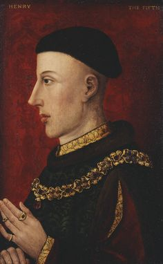 """Henry V (1387-1422) ~ """"This is one of the 5 earliest paintings surviving in the Royal Collection. The others are Henry VI, Edward IV, Richard III & Elizabeth Woodville. ca1500-1520, this would have been part of a set of heads of kings & queens either commissioned by Henry VII or Henry VIII."""