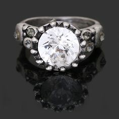 Size 5 to 9 Vintage Style Silver Plated Crystal Women Wedding Party Ring SC3
