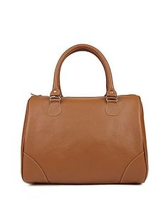 A classic medium-sized leather bag featuring gold accents, sturdy handles and a zipper closure across the top.