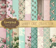 Shabby Chic Digital Paper, pink and mint vintage floral backgrounds, rustic wood and burlap flower printable decoupage scrapbook paper