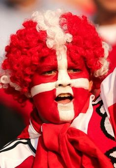 Beautiful face paint and wig for the beautiful game. This Danish supporter at Euro 2012. #Denmark #Euro2012