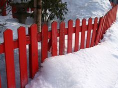 Red Fence in Snow