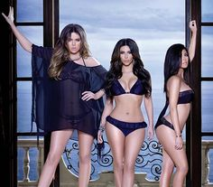 Here's the Kardashian sisters, Khloe, Kim, and Kourtney, rocking their new bikini line available at Sears.com