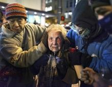 84-year-old Dorli Rainey was pepper sprayed during a peaceful march (2011) in Seattle, Washington. She would have been thrown to the ground and trampled, but luckily a fellow protester and Iraq vet was there to save her.