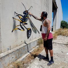 Larger-Than-Life Insects Lurk Around Abandoned Buildings in Anamorphic Street Art by Odeith – My Street Inspiration