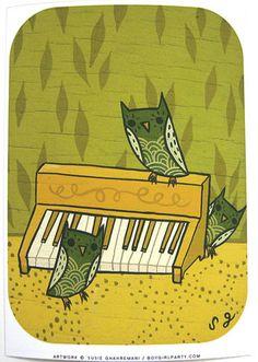 Organ Owls Art Print
