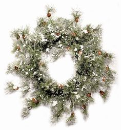 Snow Smokey Pine Christmas Wreath with Pinecones 24 Inch * Read more  at the image link.
