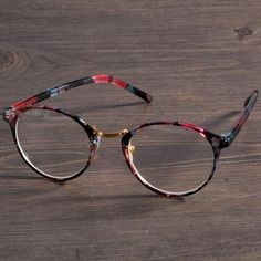 b0f5fda10e 4 Colors Stylish New Personality Practical Decoration Retro Round Lens  Plano Optical Glasses Frames For Round