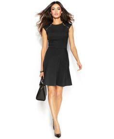 Michael Michael Kors Petite Double-Zip Ponte Dress