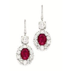 PAIR OF RUBY AND DIAMOND PENDENT EARRINGS | Lot | Sotheby's ❤ liked on Polyvore featuring jewelry, earrings, wine jewelry, earrings jewelry, ruby jewellery, ruby jewelry and diamond jewellery