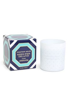 """Smells like: sea moss sand sage and fir balsam.  Feels like: the yacht club a mid-afternoon paddleboard home.  3.5"""" H  7.5 oz. candle  Approximate burn time: 40 hours Shelter Island Candle by Jonathan Adler. Home & Gifts - Home Decor - Candles & Scents Amarillo Texas"""