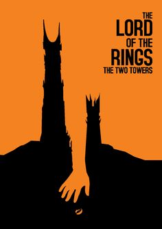 This is a poster for the movie in the Lord of the Rings franchise;Lord of the Rings: The Two Towers. It uses frodos outstretched hand to separate the two towers. Minimal Movie Posters, Minimal Poster, Cool Posters, Retro Posters, Tolkien, Poster Minimalista, Plakat Design, Buch Design, The Two Towers