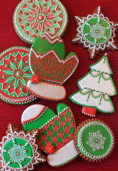 Stenciled and hand-piped Christmas cookie collection by Julia M. Usher