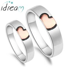 Rose Gold / Pink + Black Heart Couple Rings Set for Women and Men ...