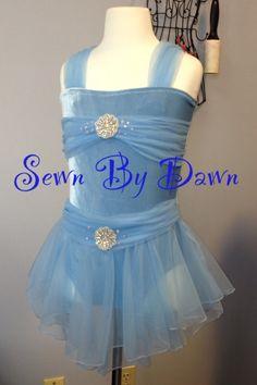Sewnbydawn.com Custom Dance Costume. Blue Lyrical Dance Costume. Girls Dance Costume.  Sewn By Dawn
