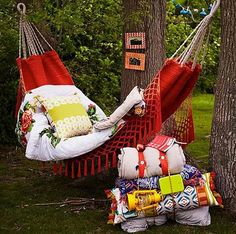 Glamping: a handwoven hammock just begging to be lounged on! Outdoor Spaces, Outdoor Living, Outdoor Decor, Outdoor Fun, Outdoor Camping, Image Deco, Gazebos, Porches, Santa Ana
