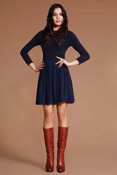 love the boots with this navy dress, just needs some simple accessories