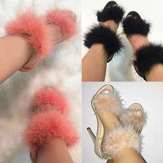 Ankle Strap Fur Heels