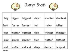 Jump Shot Game -comparative words with er and est endings