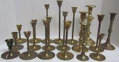 Lot of 19 Vintage Brass Candlesticks Wedding Decor Candle Holders FREE SHIPPING Brass Candle Holders, Candlesticks, Wedding Decorations, Chandelier, Ceiling Lights, Free Shipping, Vintage, Candle Holders, Candle Sticks