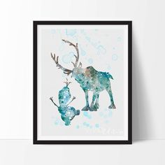 Sven and Olaf Print Frozen Disney Watercolor Art by VIVIDEDITIONS