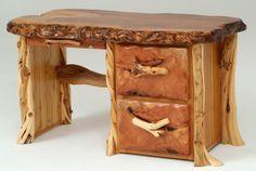 Log Desk, Natural Wood Desk, Custom Made Desks, Rustic Desk, Live Edge, Cabin Furniture | Woodland Creek Furniture