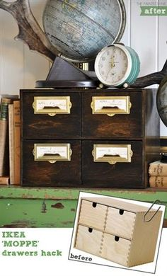 How-To: Faux Antique Card File Drawers