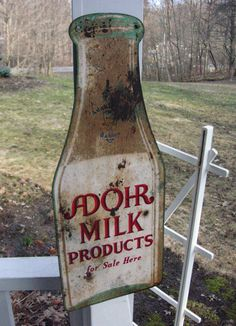 "Vintage Adohr Farms Milk Products Die Cut Bottle Shaped Dealers Advertising Sign ... ""Largest Guernsey herd in the world"""