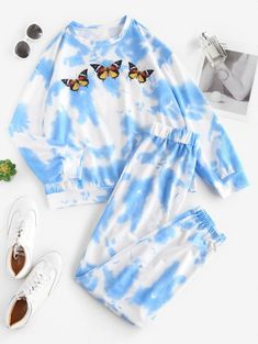 Conjunto De Dos Piezas De Tie Dye - Azul L Girls Fashion Clothes, Teen Fashion Outfits, Retro Outfits, Outfits For Teens, Trendy Fashion, Cute Lazy Outfits, Crop Top Outfits, Stylish Outfits, Cool Outfits