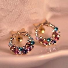 Colorful Crystal Rhinestones With Gold Bow Studs