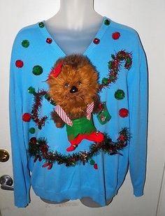 Star Wars Ugly Sweater | Mens STAR WARS Talking WOOKIE ELF Ugly Christmas Sweater~Geeky~sz XXL ...