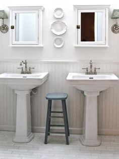 Make A Small Bath Feel More Spacious By Replacing The Vanity Cabinet With A  Pedestal Sink