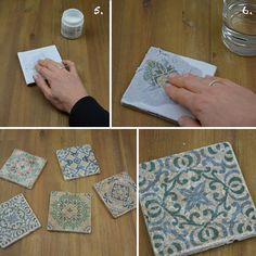 Make vintage tiles in trendy shabby chic look easy yourself. Shabby Chic Spiegel, Shabby Chic Tapete, Rustikalen Shabby Chic, Shabby Chic Vanity, Shabby Chic Wallpaper, Shabby Chic Dining, Shabby Chic Wall Decor, Shabby Chic Pillows, Shabby Chic Crafts