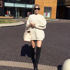 Elena Perminova sweater dress high boots