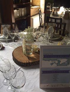 #wedding #rural #vintage #centrosdemesa #rodajademadera #tarros #velas #paniculata