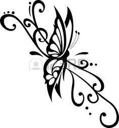 vector ornamento floral con mariposa elemento para el dise o Foto de archivo
