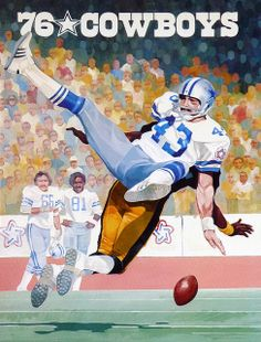 1976 Dallas Cowboys Program art of All-Pro running back Don Perkins (1961-68)