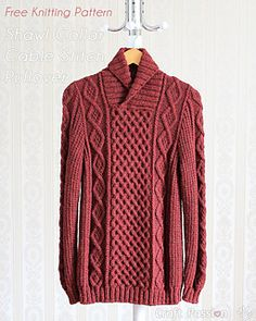 Shawl Collar Cable Pullover Size: (Figures in square brackets refer to larger sizes)