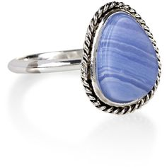 Accessorize Blue Lace Agate Stone Ring ($16) ❤ liked on Polyvore featuring jewelry and rings