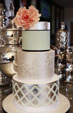 Metallic quatrefoil wedding cake - Wedding Cake Gallery in Raleigh NC
