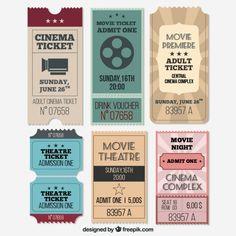 Vintage cinema ticket collection Free Vector